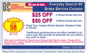 Brake service coupon. $25 off 2 wheel service or $50 off 4 wheel service